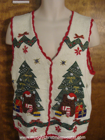 Teddy Bears By The Christmas Tree Cute Christmas Sweater Vest