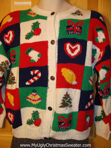Tacky Vintage 80s Classic Ugly Christmas Sweater with Designs on Front and Back and  Padded Shoulders (f646)
