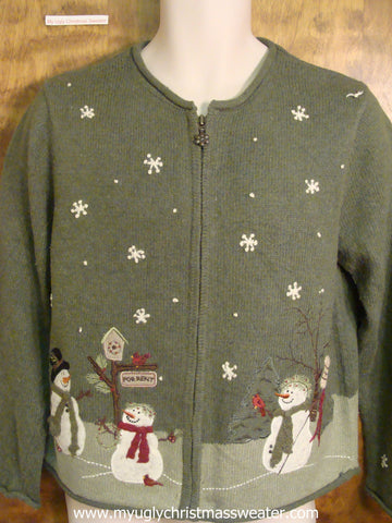 Snowy Snowmen Scene Cute Christmas Sweater