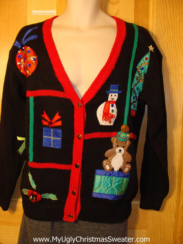 Tacky 80s Style Ugly Christmas Sweater Cardigan with Gem Bling (f647)