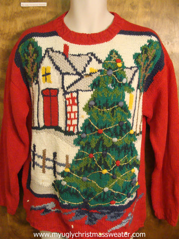 Decorated Tree 80s Cute Christmas Sweater