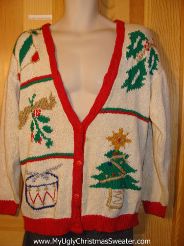 Tacky Vintage 80s Ugly Christmas Sweater with Bold Festive Ivy, Tree, Drum, and Ornament (f648)