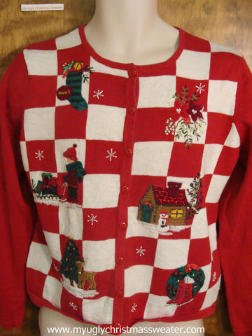 Red and White Checkered Cute Christmas Sweater