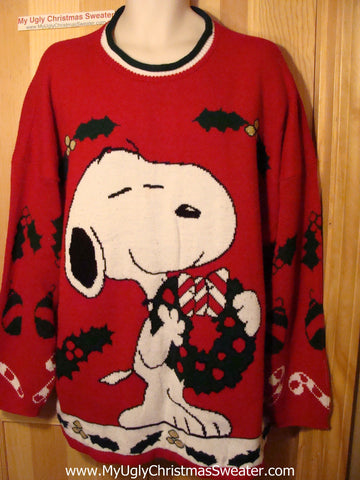 Tacky Ugly Christmas Sweater Snoopy Dog Classic 80s Holy Grail of Ugly Big Mens Size (f64)