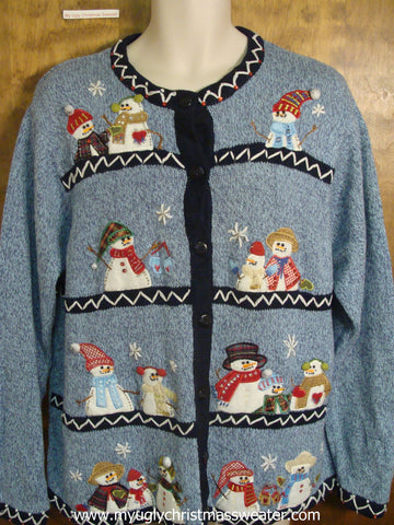 Snowmen Families Hanging Out Christmas Party Sweater