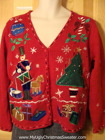 Tacky Colorful Festive Ugly Christmas Sweater with Nutcracker, Tree, Gifts, Candy Cane, Ornament and Ivy (f650)