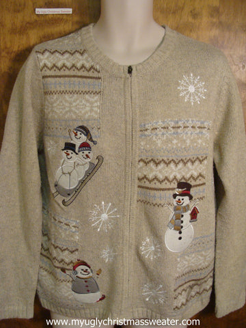 Sledding Snowman Family Christmas Party Sweater