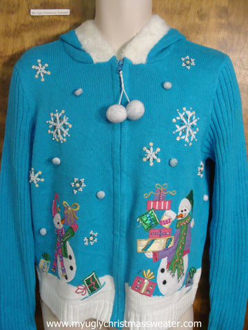 Bright Blue Christmas Party Sweater Hoody