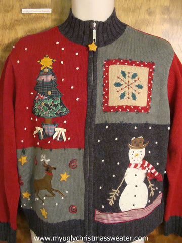 Patchwork Winter Fun Christmas Party Sweater