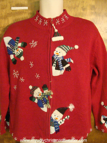 Waving Snowmen Christmas Party Sweater