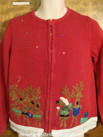 Caroling Reindeer Christmas Party Sweater