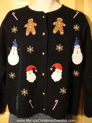 Tacky Cheap Ugly Christmas Sweater with Gingerbread Men, Candy Canes, Santa, and Snowmen (f651)