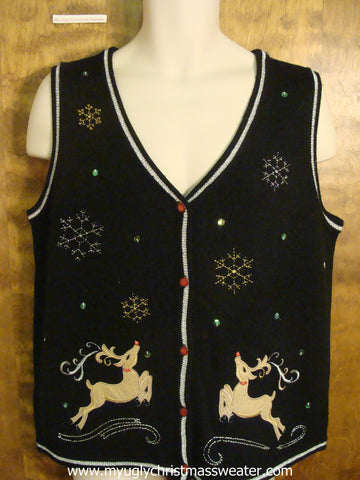 Reindeer Jumping For Joy Christmas Party Sweater Vest