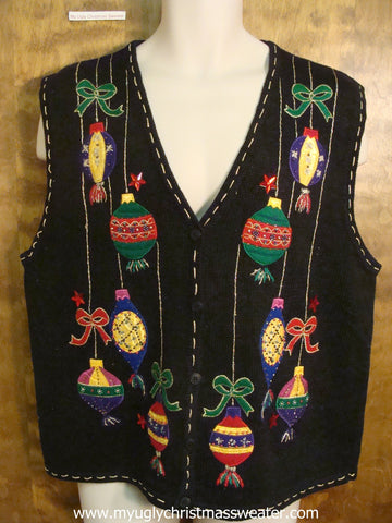 Ornaments Tied With Bows Christmas Party Sweater Vest