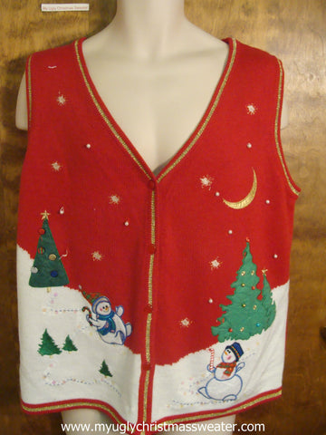 Sliding Snowmen Christmas Party Sweater Vest