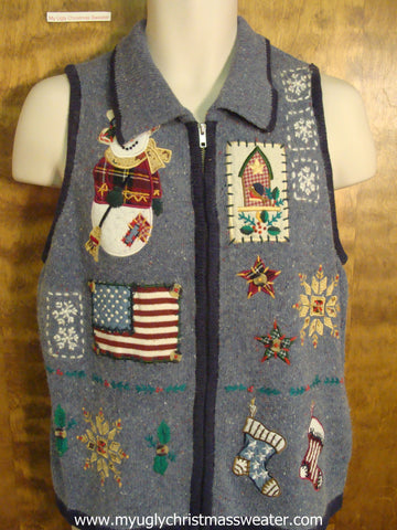 Patriotic Holiday Christmas Party Sweater Vest
