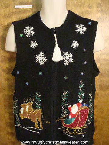 Santa Dashing Through The Snow Christmas Party Sweater Vest
