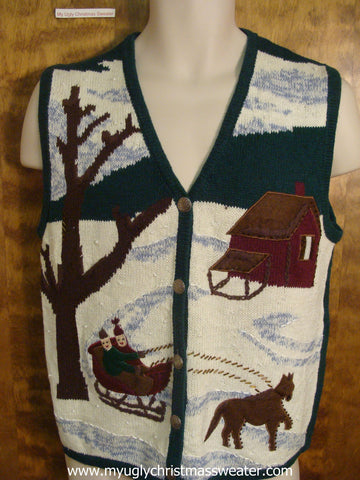 One Horse Sleigh Christmas Party Sweater Vest