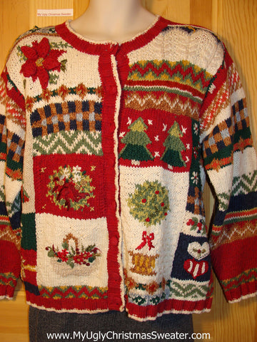 Tacky 80s Two Sided Ugly Christmas Sweater with Padded Shoulders (f652)