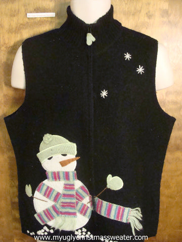 Snowman Watching It Snow Christmas Party Sweater Vest
