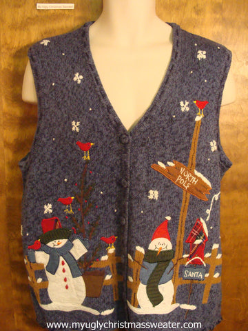 North Pole Scene Christmas Party Sweater Vest