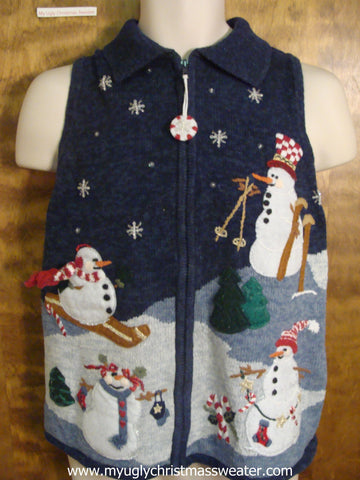 Skiing Snowmen Christmas Party Sweater Vest