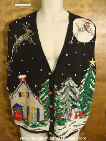 Flying Reindeer Christmas Party Sweater Vest