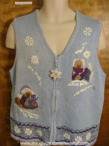 Winter Teddy Bears Christmas Party Sweater Vest