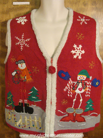 Long Legged Santa and Snowman Christmas Party Sweater Vest