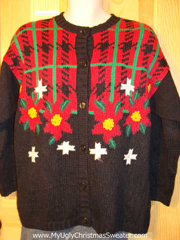 Tacky Vintage 80s Ugly Christmas Sweater with Plaid Theme and Poinsettias with Padded Shoulders  (f653)
