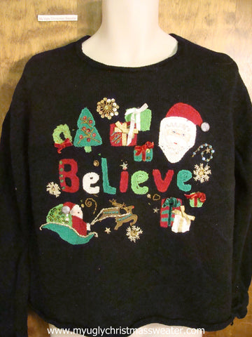 BELIEVE Fun Christmas Party Sweater