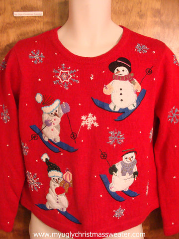 Skiing Snowmen Fun Christmas Party Sweater