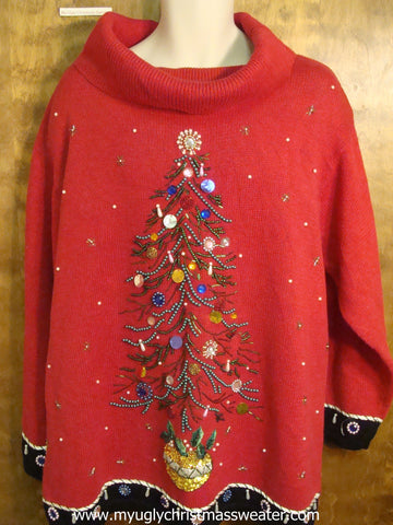 Bling Xmas Tree and Snow Christmas Party Sweater