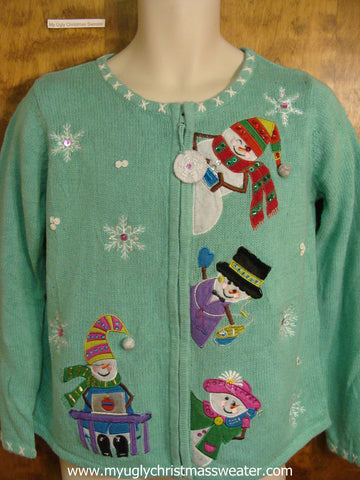 Tacky Light Green Christmas Party Sweater