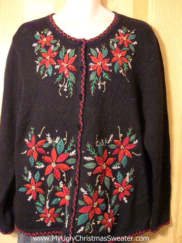 Tacky Cheap Ugly Christmas Sweater with Bead Bling Poinsettas (f655)