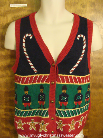 Candy Cane, Nutcrackers, and Gingerbread Christmas Party Sweater Vest