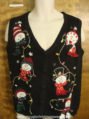 Snowmen and Christmas Lights Christmas Party Sweater Vest