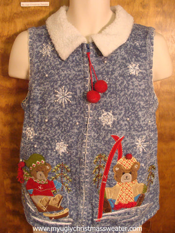 Sledding Teddy Bear Christmas Party Sweater Vest