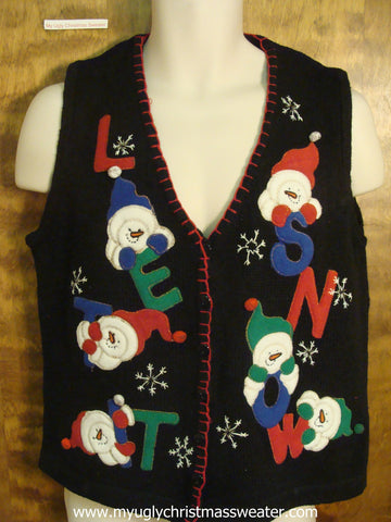 LET IT SNOW Snowman Christmas Party Sweater Vest
