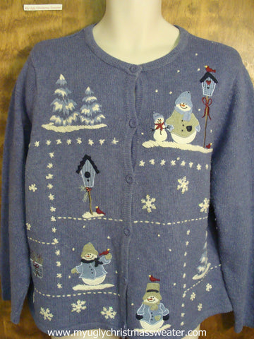 Snowmen with Robins Christmas Party Sweater