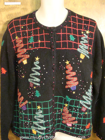 Ribbon Xmas Trees Christmas Party Sweater