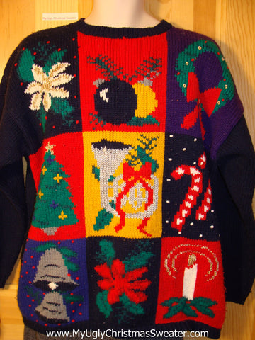 Tacky 80s Classic Ugly Christmas Sweater with Candy Canes, Poinsettias, and Bold Festvie Designs with Padded Shoulders (f658)