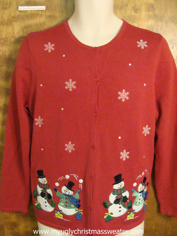 Snowmen Juggling Snowballs Christmas Party Sweater
