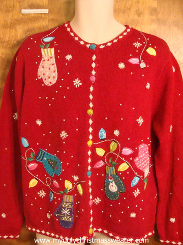 Bling Mittens and Lights Christmas Party Sweater