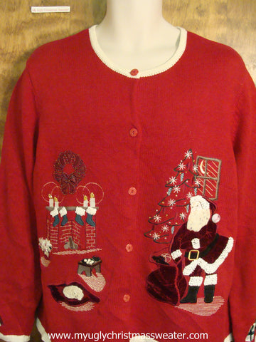 Santa By The Tree Christmas Party Sweater