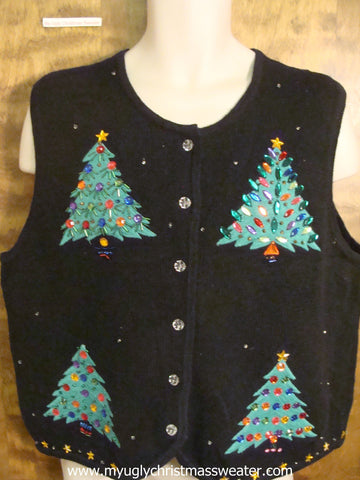 Trees with Bling Ornaments Christmas Party Sweater Vest