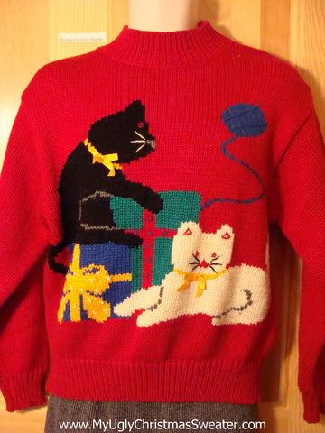 Crazy Cat Lady Special!  Tacky 80s Ugly Christmas Sweater with Huge Playful Cats. Padded Shoulders!  (f659)