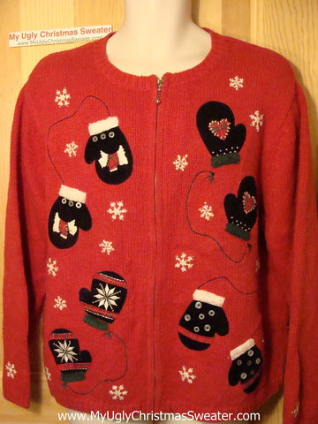 Tacky Ugly Christmas Red Sweater with Scotty Dogs and Mittens (f65)