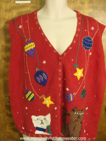 Kittens Playing With Ornaments Ugly Christmas Sweater Vest