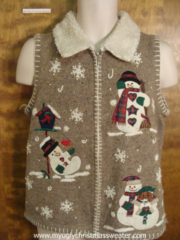 Snowmen in the Snow Ugly Christmas Sweater Vest